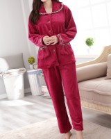 Thick flannel middle-aged pajamas a set for women