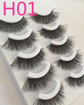 Natural fake European style slender eyelash 5 pair set