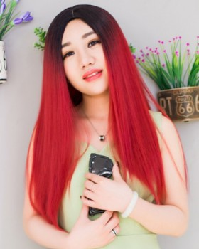 Gradient long colors wig wine-red black headgear