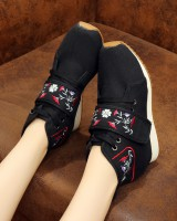 Beef tendon within increased double color cloth shoes for women