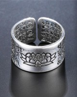 Opening couples silvering retro antique silver ring