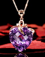 Natural colors gem luxurious heart crystal pendant necklace