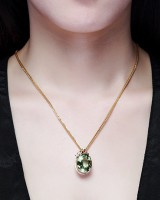 Green pendant luxurious mosaic butterfly necklace for women