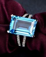 Zircon colors square sapphire mosaic natural gem ring