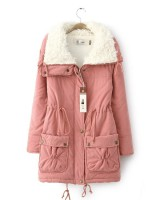 Korean style thick coat long winter cotton coat for women
