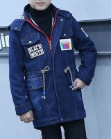 Winter denim plus velvet coat child long kids