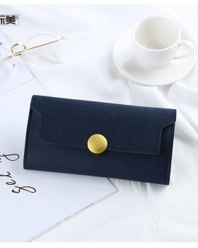 Korean style retro long clutch winter nubuck round buckle wallet