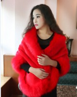 European style thick cloak wedding fox fur shawl for women