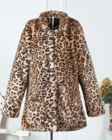 Lapel long sleeve overcoat leopard coat