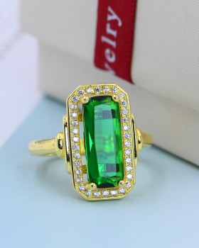 Green gem European style inlay colors gold ring