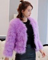 Long sleeve feather fur coat autumn and winter coat