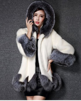 Winter hooded fur coat faux fur rabbit fur overcoat