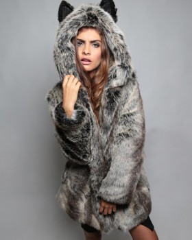Plush ear coat hooded fur coat for women