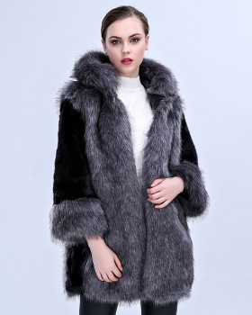 Faux fur luxurious hooded overcoat for women
