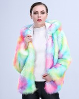 Hooded thermal fur coat short colors coat for women