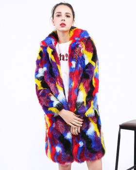 Long colors overcoat rabbit fur windbreaker for women