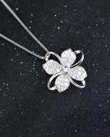 Korean style clover accessories antique silver necklace