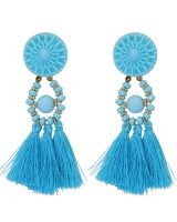 Silk multicolor retro tassels national style earrings