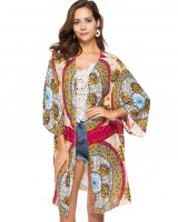 Large yard European style smock printing cardigan for women