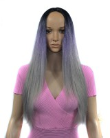 Gradient straight hair fiber wig for women