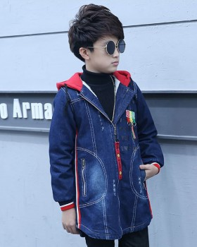 Denim plus velvet winter coat girl big child thick tops