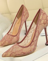 High-heeled hollow lace nightclub sexy fashion low shoes for women