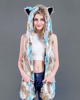 Winter animal prom hat rainbow faux fur Gloves