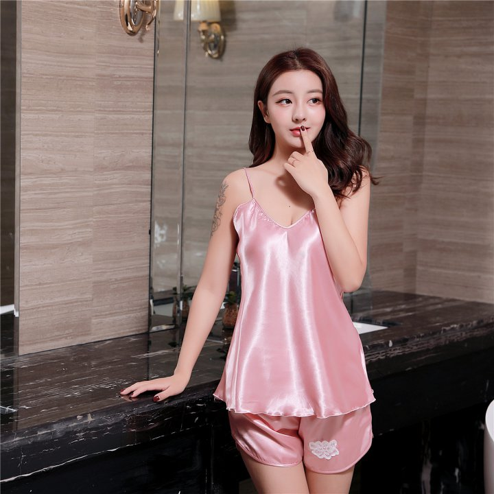 Imitation silk summer pajamas maiden sexy shorts a set