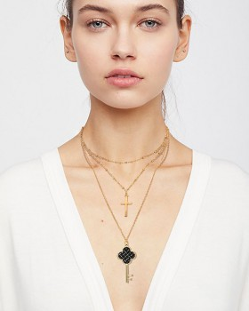Gold crosses multilayer clavicle necklace pendant key collar