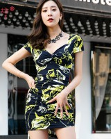 Summer sexy fashion package hip printing dress