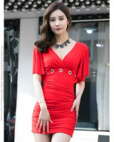 Boats sleeve sexy fashion V-neck halter package hip dress