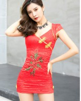 Lace package hip national style sexy dress