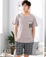 Casual homewear knitted summer pajamas 2pcs set for men