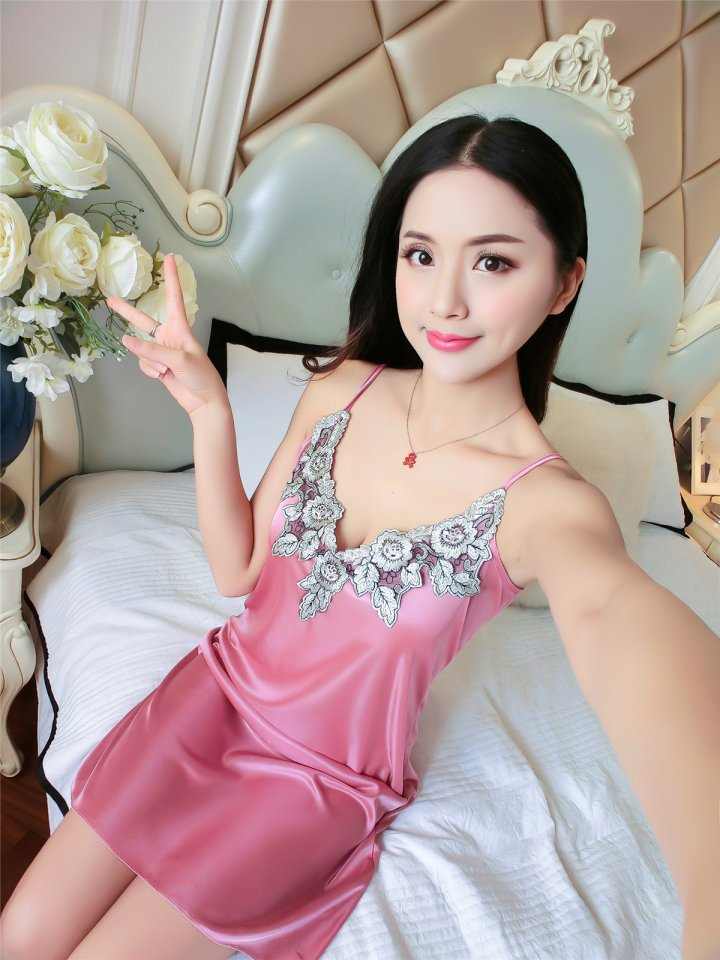 Ice silk lace sling sexy summer night dress