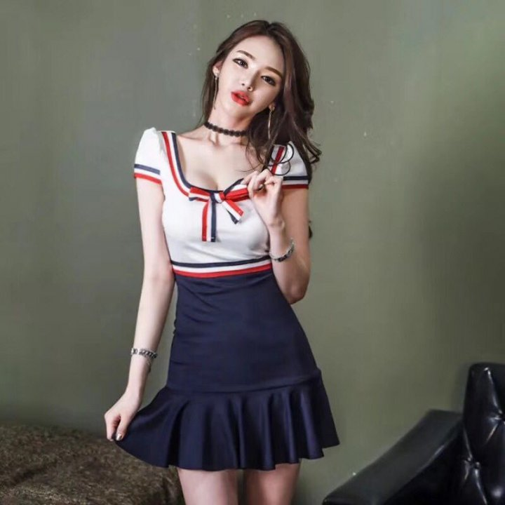 Bow frenum sweet college style temperament dress
