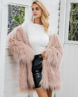 Fashionable plain overcoat long hair faux fur coat