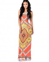 Printing European style dress totem sexy long dress