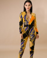 Printing sexy zip spring gold jumpsuit for women