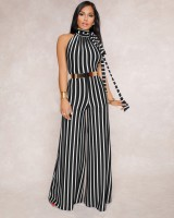 Frenum European style backless stripe jumpsuit for women