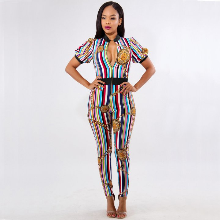 Shackle colors European style jumpsuit for women