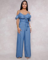 Low-cut sexy sling European style jumpsuit for women