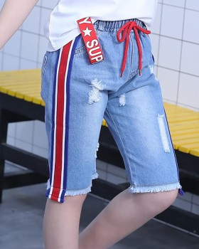 Casual child fashion kids Korean style summer jeans