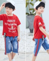 Korean style short sleeve kids summer T-shirt 2pcs set