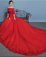 Bride big trailing wedding dress red spring formal dress