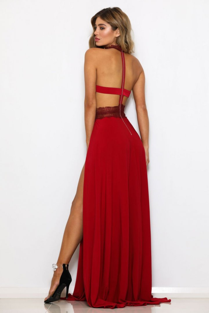Summer sexy high split perspective lace backless dress