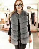 Fox fur faux fur fashion splice waistcoat for women