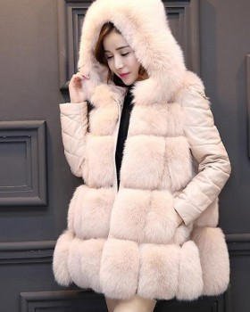 Splice fox fur coat spring long fur coat for women