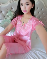 Imitation silk pajamas a set for women