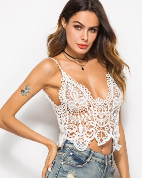 925e071c49 V-neck Bohemian style sling lace tops sexy summer hollow vest ...