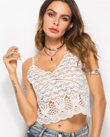 Sling V-neck lace tops summer European style hollow vest